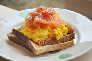 A breakfast of smoked salmon and scrambled egg on toast at the Country Cafe