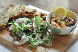 A light lunch of prawns, salad and wholemeal bread in the Country Cafe at Aston Pottery