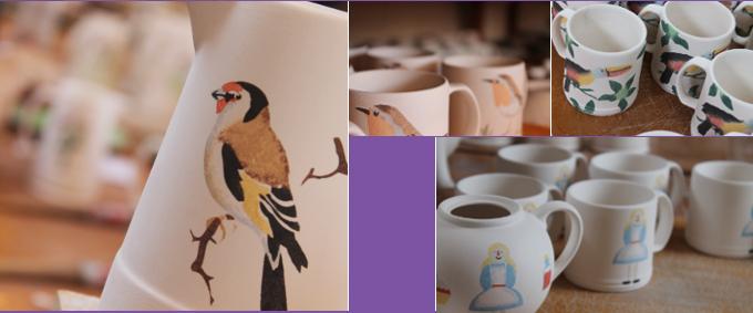 hand decorating bird and Alice in Wonderland designs using stencils