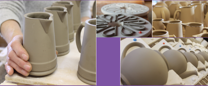removing and drying jugs, handles and teapots from molds in the workshop